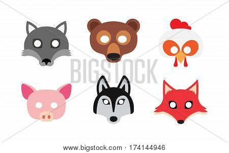 carnival masks animals, festival masquerade on white background. Vector illustration