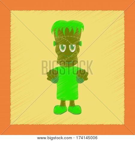 flat shading style icon of zombie men