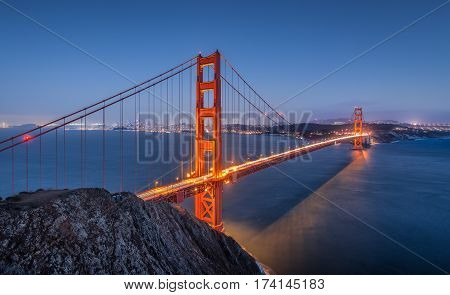 Golden Gate Bridge In Twilight, San Francisco, California, Usa