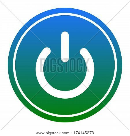 On Off switch sign. Vector. White icon in bluish circle on white background. Isolated.