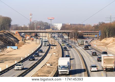 Freeway Junction With Road Works In Hamburg