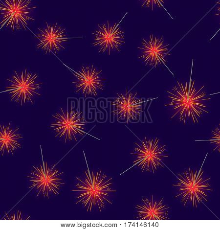 Seamless pattern of red fireworks on dark blue background. Vector illustration of many alike New Year decorations endless texture in flat design. Merry Christmas attributes wallpaper in cartoon style