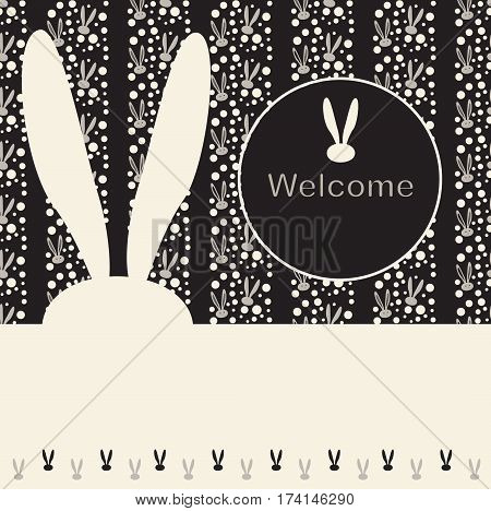 Easter Bunny greeting card, poster. Easter party invitation Vector illustration. Fashion, textile. Rabbit Print. Spring Holiday background. Rabbit ears Abstract Black and White background. Vintage