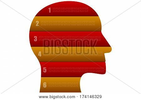 Head shaped business infographics with 6 steps in origami style in red and orange or gold colors. Six steps timeline infographic isolated on white background.