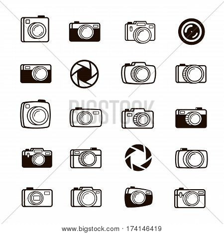 Set of photo camera, lens and diaphragm icons black color. Perfect for your business design. Vector illustration