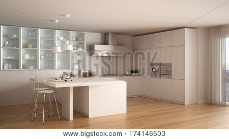 Classic Minimal White Kitchen With Parquet Floor, Modern Interior Design