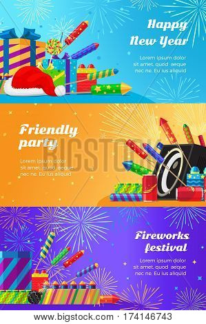 Happy New Year fireworks festival and friendly party. Vector set of different kinds of amazing fireworks and salute elements for holidays. Banner of celebration pyrotechnic devices in flat style.