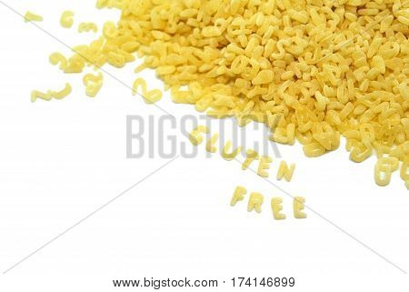 Concept background of delicious pasta in the form of letters forming word gluten free