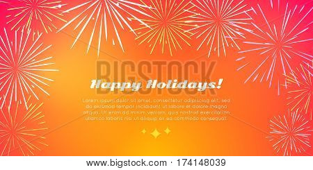 Happy holidays banner in flat style with best fireworks salute elements. Fireworks festival with kinds of fireworks on orange pyrotechnical background. Vector illustration for birthday celebration