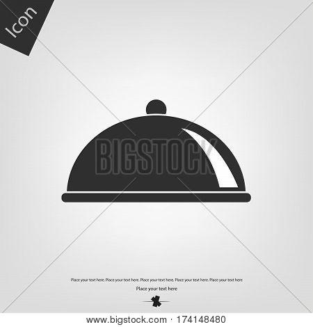 Food platter serving icon, gray background. Vector illustration.
