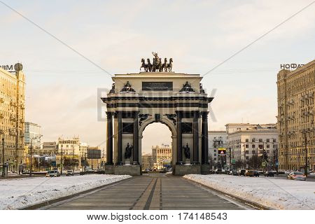 Moscow, Russia - January 22, 2017: Moscow Triumphal Arch on Kutuzovsky Avenue in Moscow