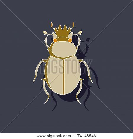 paper sticker on stylish background of scarab