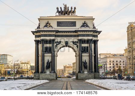Moscow, Russia - January 22, 2017: Moscow Triumphal Arch on Kutuzovsky Avenue in Moscow in winter