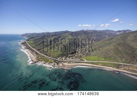 Aerial view of Leo Carrillo State Park and Pacific Coast Highway in Malibu, California.