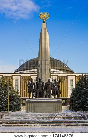 Moscow, Russia - January 22, 2017: Monument The spirit of the Elbe in Victory Park in Moscow