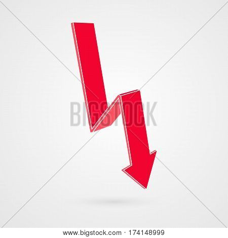 Vector infographic illustration. Red arrow goes down. Isolated business symbol