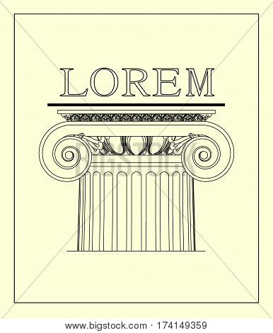 Ionic columns. The logo with the classic architecture.