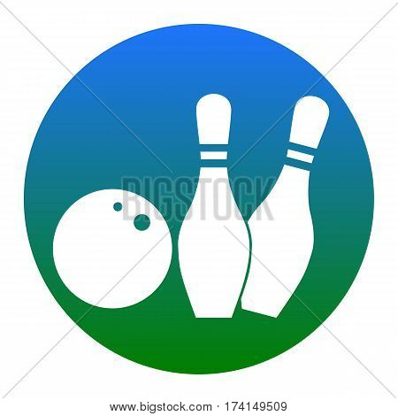 Bowling sign illustration. Vector. White icon in bluish circle on white background. Isolated.