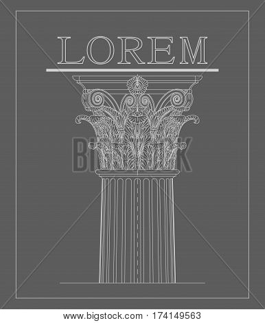 Corinthian columns of the lines on a gray background. Vector logo. Classical architecture