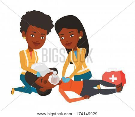 Paramedics doing cardiopulmonary resuscitation of a woman. Team of emergency doctors during process of resuscitation of an injured woman. flat design illustration isolated on white background.