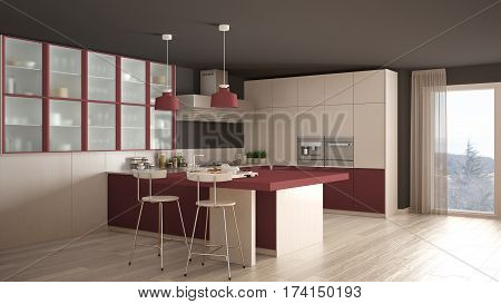 Classic Minimal White And Red Kitchen With Parquet Floor, Modern Interior Design