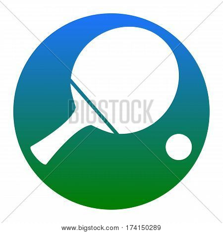 Ping pong paddle with ball. Vector. White icon in bluish circle on white background. Isolated.