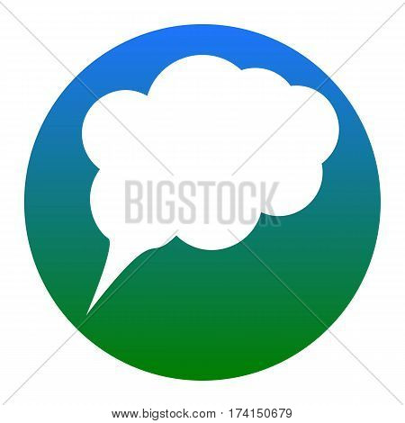 Speach bubble sign illustration. Vector. White icon in bluish circle on white background. Isolated.