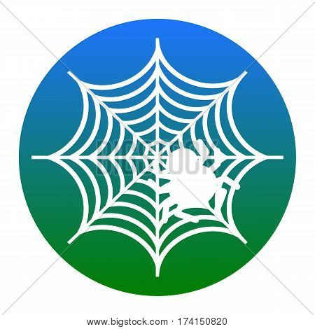 Spider on web illustration Vector. White icon in bluish circle on white background. Isolated.
