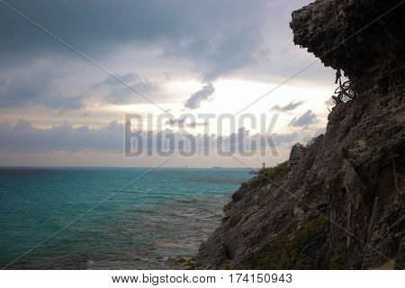 Cliff along the Caribbean Sea in Isla Mujeres, Mexico.