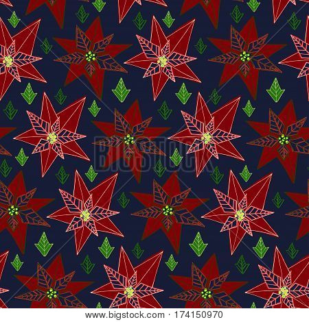 Vector stylised poinsettia flower colorful bright seamless pattern texture
