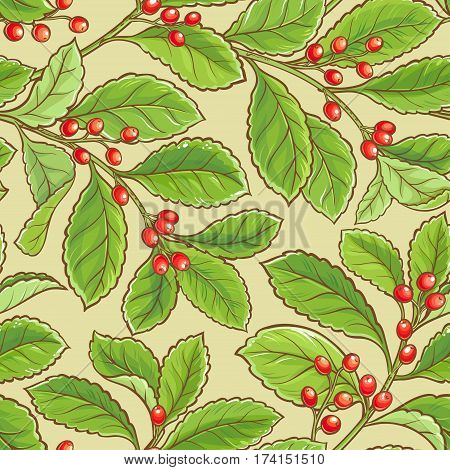 yerba mate vector seamless pattern on color background