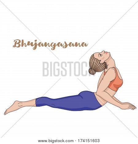 Women silhouette. Cobra yoga pose. Bhujangasana Vector illustration