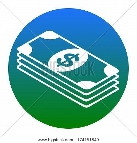 Bank Note dollar sign. Vector. White icon in bluish circle on white background. Isolated.