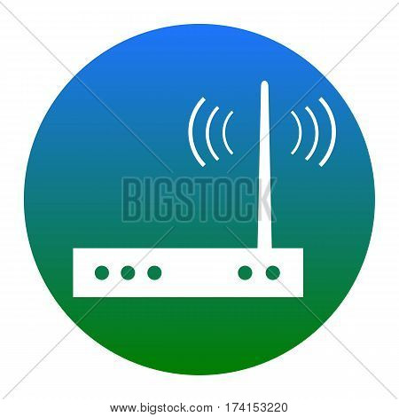Wifi modem sign. Vector. White icon in bluish circle on white background. Isolated.