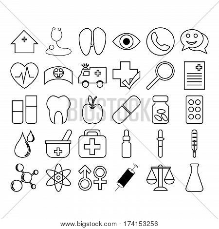 Collection of simple thin line medical icon vector