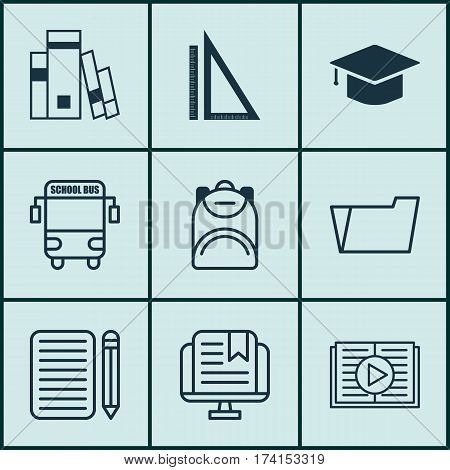 Set Of 9 Education Icons. Includes Document Case, Graduation, Haversack And Other Symbols. Beautiful Design Elements.
