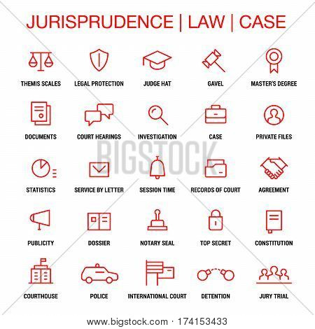 Jurisprudence. Law. Case. Icons set. Thin lines. Red on white.