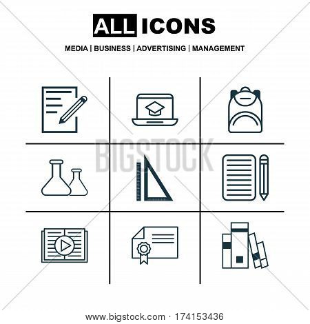 Set Of 9 School Icons. Includes Haversack, Distance Learning, Paper And Other Symbols. Beautiful Design Elements.