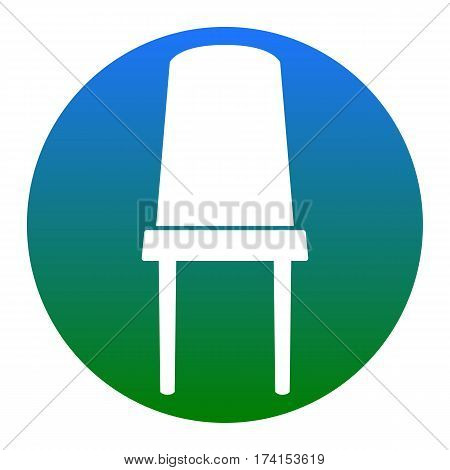 Office chair sign. Vector. White icon in bluish circle on white background. Isolated.