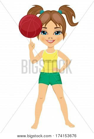 full length portrait of little girl spinning basketball ball with her finger over white background