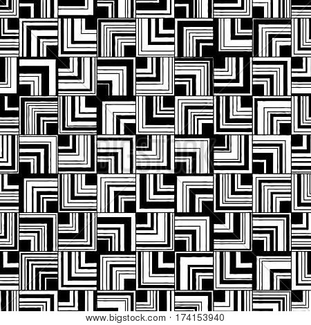 Vector seamless abstract monochrome pattern of square angle varying thickness.