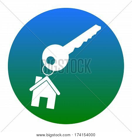 key with keychain as an house sign. Vector. White icon in bluish circle on white background. Isolated.