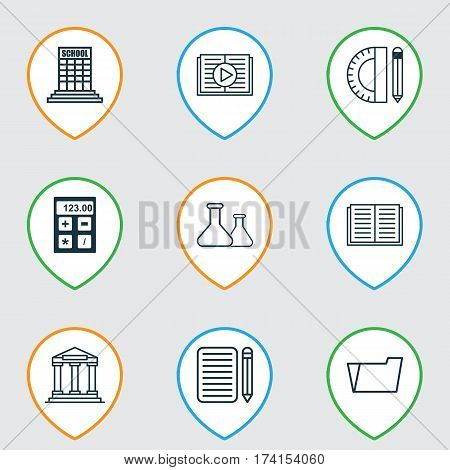 Set Of 9 Education Icons. Includes Education Tools, Document Case, Home Work And Other Symbols. Beautiful Design Elements.