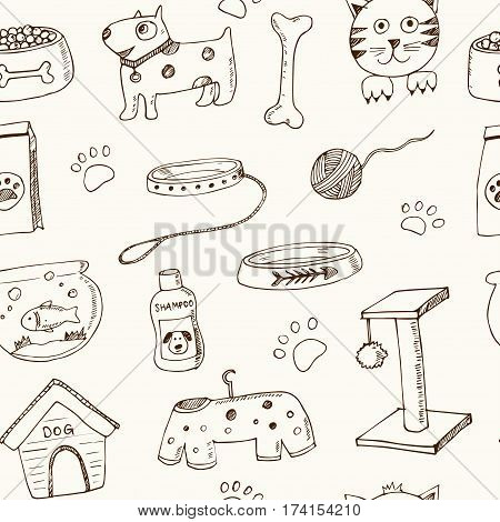 Hand drawn doodle Pets stuff and supply seamless pattern. Vector illustration. Vet symbol collection. Cartoon dogs and cats care elements: leash, food, paw, bowl, bone and other goods for pet shop