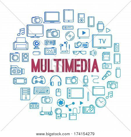 Multimedia device icon line style concept isolated on white background. Vector design elements, business signs, logos, identity and other branding objects for your business. Vector Illustration