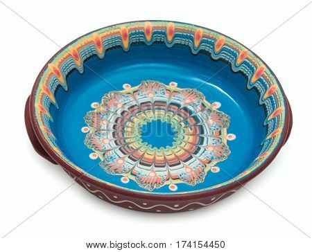 Traditional Bulgarian Hand Made, Ornated, Rich Decorated, Colorful Painted Ceramic Dish Isolated On