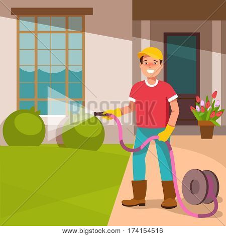 The young man father standing in the courtyard of his houses watering the lawn. home and garden improvement.Landscape Gardener works. Vector illustration in flat style