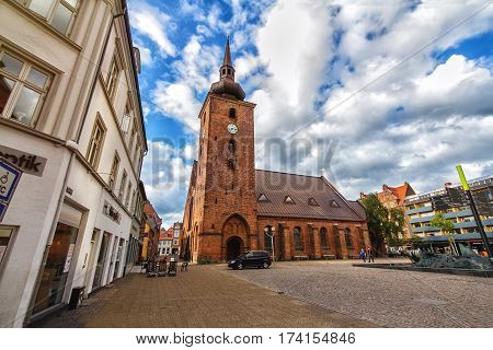 HORSENS DENMARK - JUNE 11: Church of the Saviour in the historic center of the city of Horsens