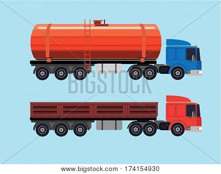 flat illustration of trucks. Two trucks with various trailers. One for transportation fuel and one for bulk cargo, sand, gravel