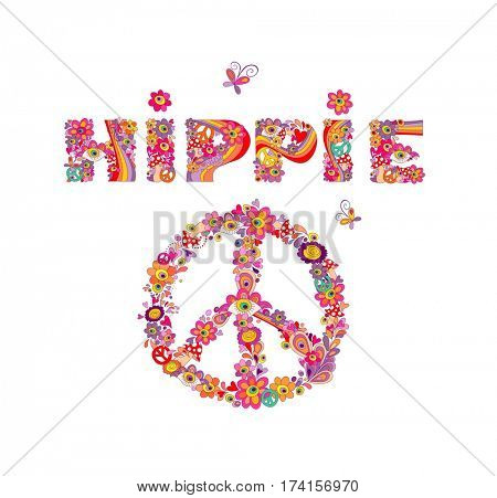 Psychedelic hippie lettering and peace symbol with colorful abstract flowers, peace symbol, eyes and fly agaric. Isolated on white background